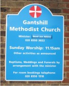 Gantshill Methodist Church Signboard on a Wall
