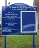 St Mary the Virgin Church Notice Board on Aluminium Posts