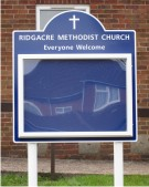 Ridgeacre Methodist Church Notice Board on Aluminium Posts
