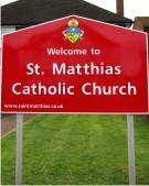 St Matthias Church Sign on Existing Posts