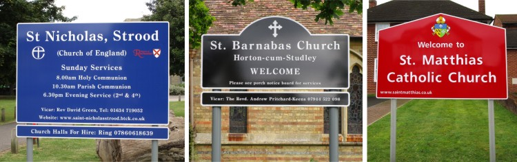Aluminium Post Mounted Church Signs