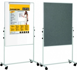 Mobile Duo Whiteboard / Felt Combination Board