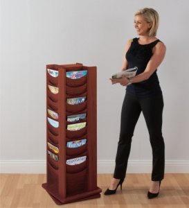 Wooden Revolving Literature Dispenser
