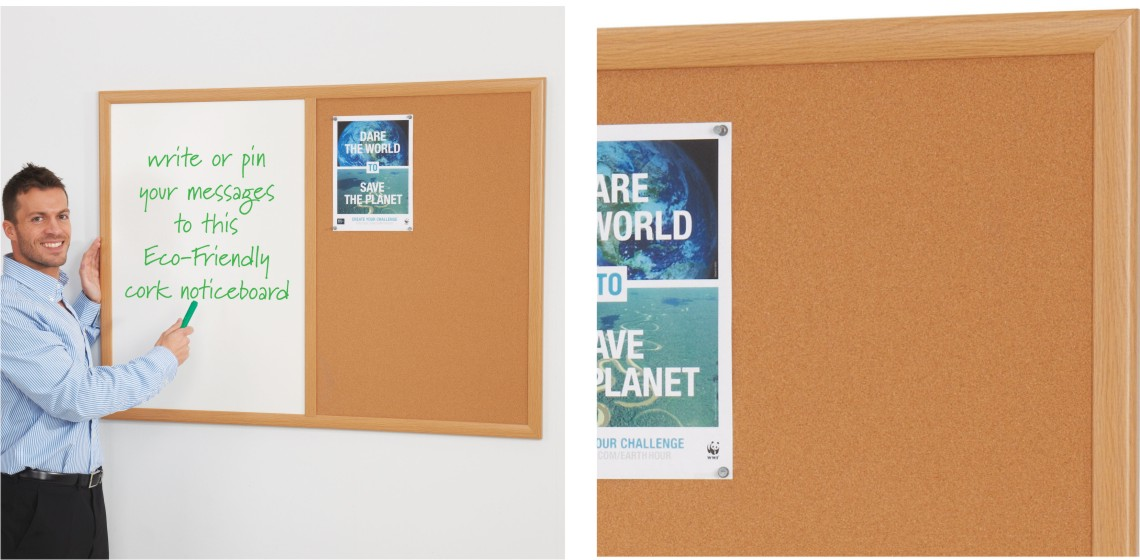 Eco-Friendly Combination Cork Noticeboards