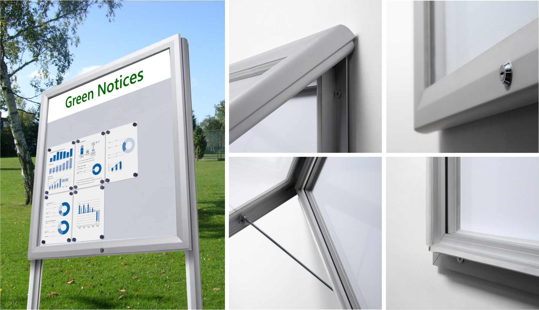 Premium Post Mounted Magnetic Notice Board with Header Panel