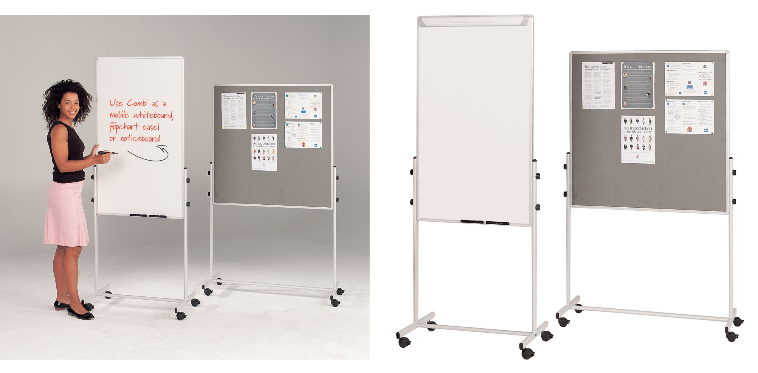 Combi Mobile Whiteboard and Noticeboard