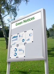 Premium Post Mounted Magnetic Noticeboard Plus Header Panel