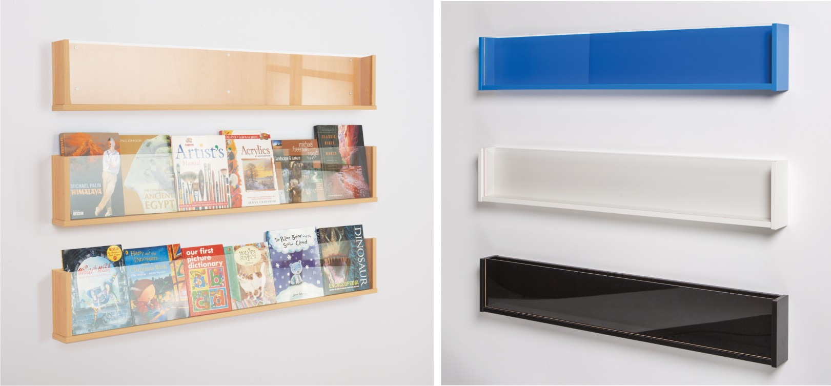 Shelf style wall mounted literature display signs for for Picture wall display