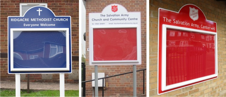 Midi Church Notice Boards Post Mounted
