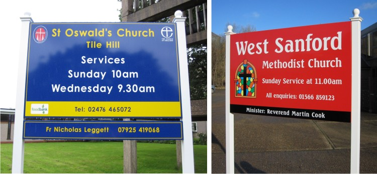 external post mounted church signs
